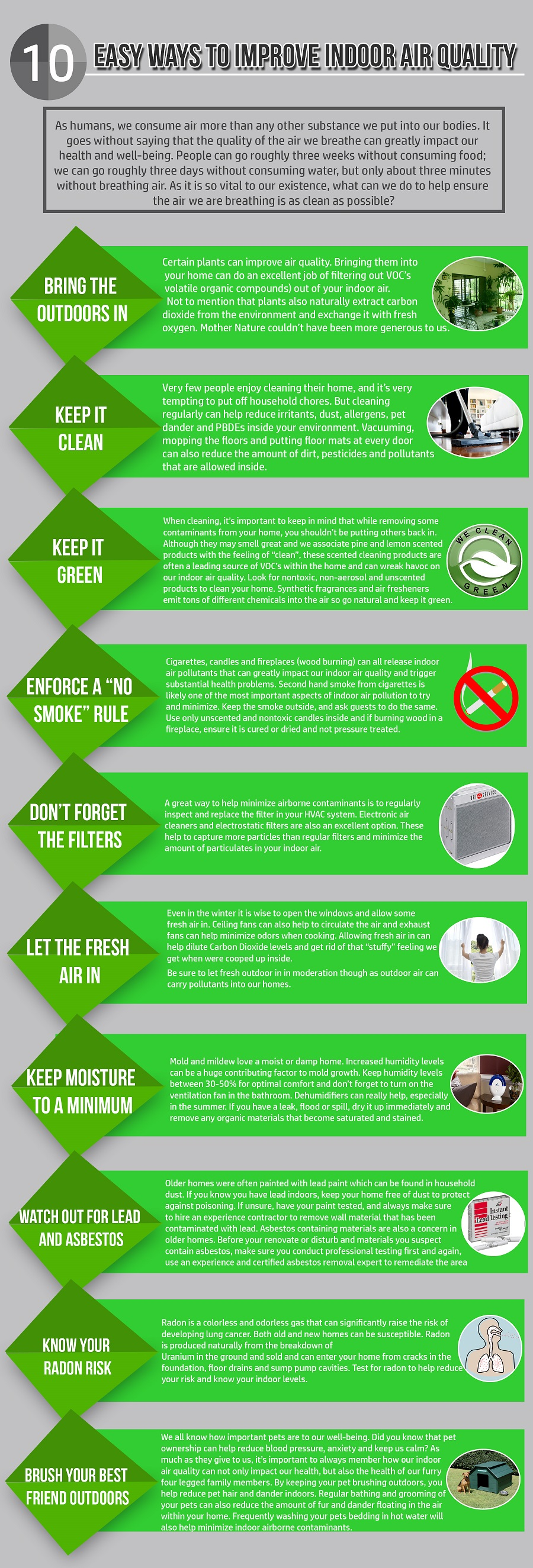 10 easy ways to improve indoor air quality infographic
